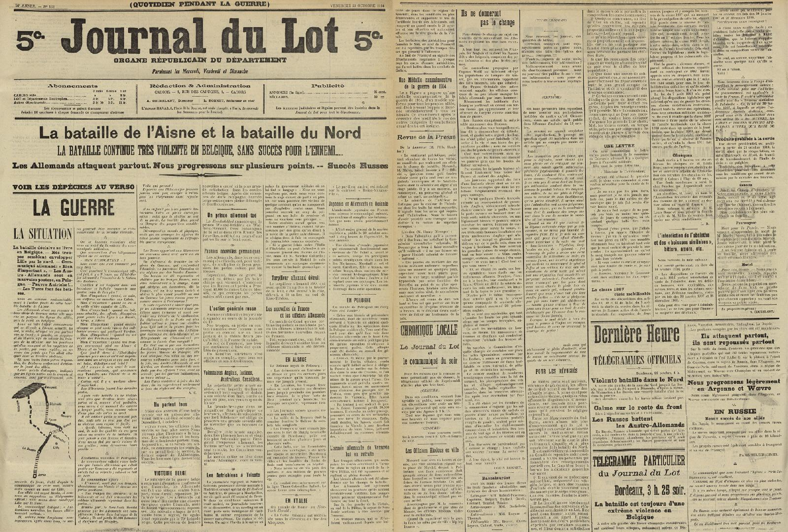 Journal du Lot du 23 octobre 1914