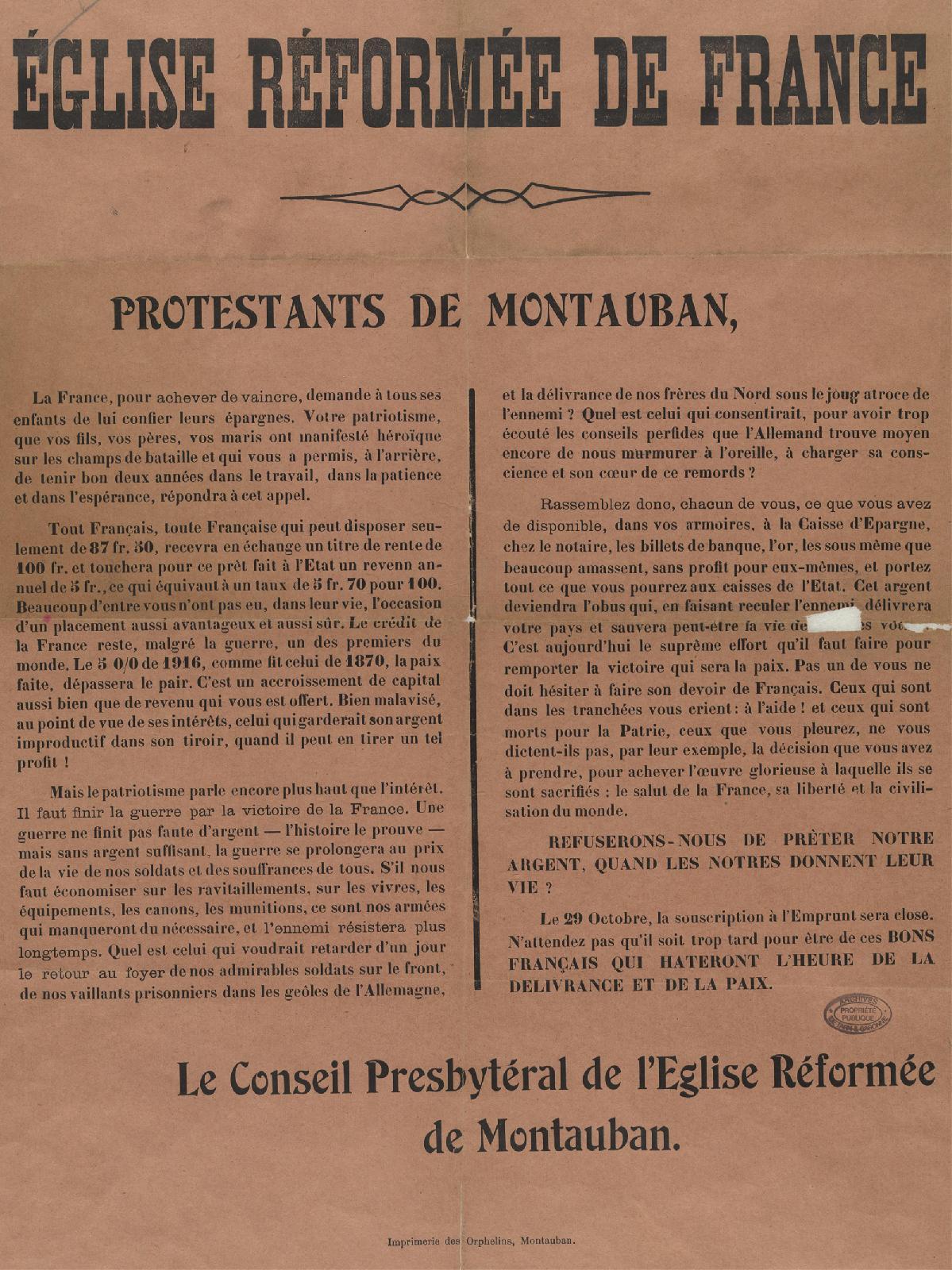Appel au patriotisme des protestants montalbanais
