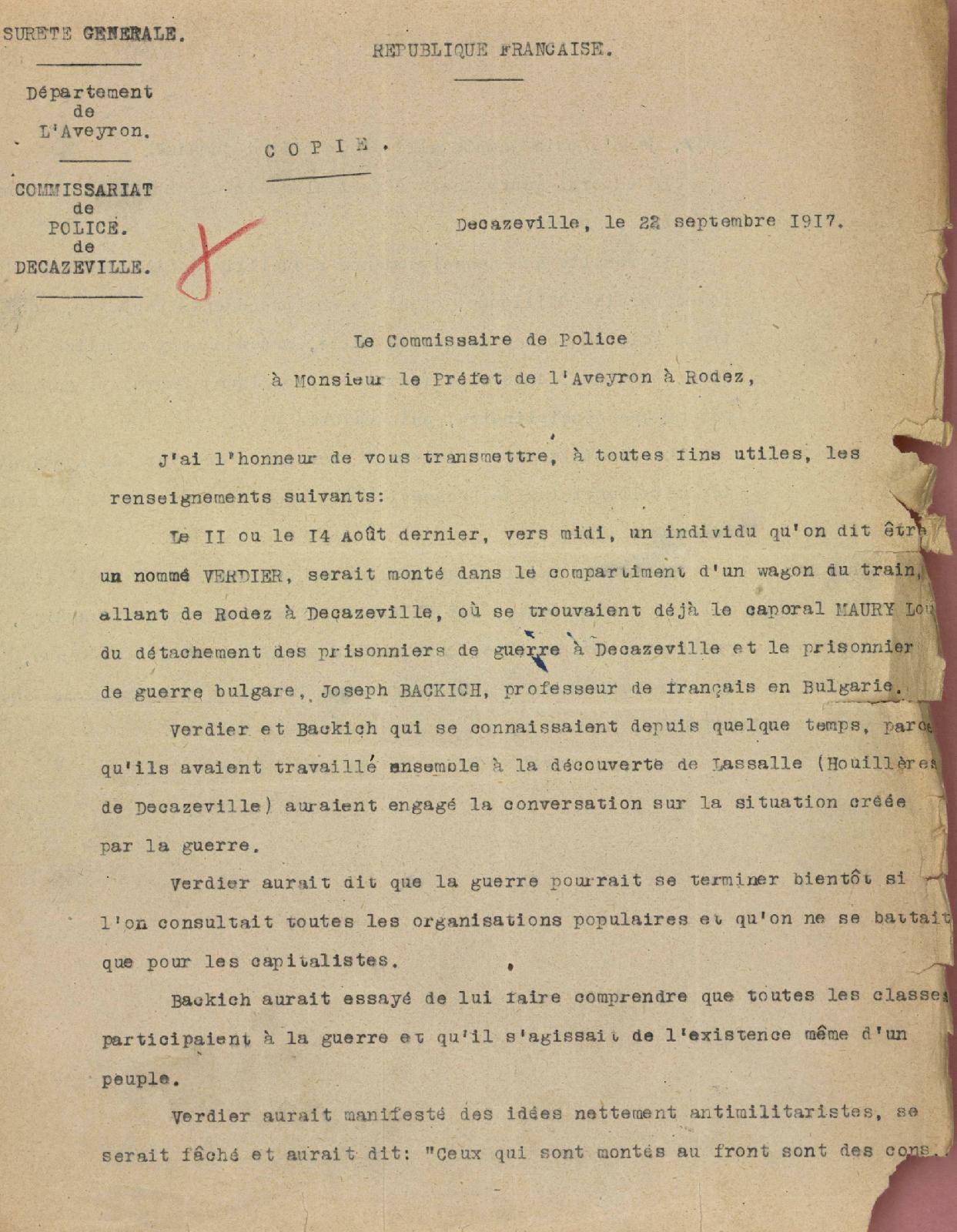 Un antimilitariste en 1917